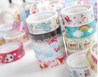 30pcs/lots Stationery hot-selling cartoon  tape diy adhesive stationery glue stationery  transparent color tape
