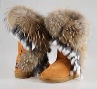 2014 snow boots fox fur women's shoes faux cow muscle outsole high tassel
