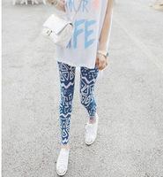 Free shipping New 2015 Fashion Brand Womens clothing Korean Retro Pattern Totem High Elastic Leggings calcas femininas