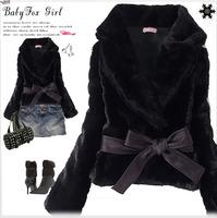 Hot Sale Korea Fashion Faux Fur Rabbit Hair Lady Short Warm Coat Jacket Fluffy Outwear with Belted