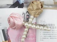 Fs119 accessories brief fashion pearl rose side-knotted clip pearl clip female