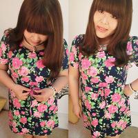 Plus size one-piece dress summer short-sleeve skirt drawstring waist slim vintage nobility