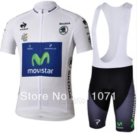 Free Shipping!  2013 Tour de france Movistar white Cycling Jersey and bib Shorts Cycling Kits Straps