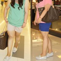 Plus size shorts mm summer plus size clothing trousers solid color plus size denim shorts 3 chiban