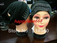 2013 fashion and beautiful  muslim hijab Cap drill bit cap lace net laciness cap