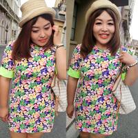 Plus size one-piece dress clothes plus size plus size summer mm skirt national trend flower print