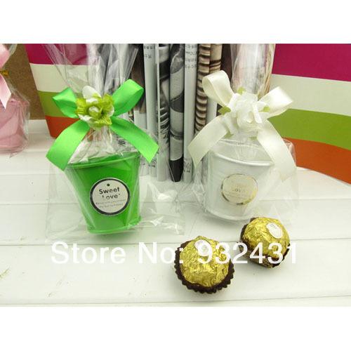 DIY Make Flower Yourself Luxury Mini Tin Bucket Pail Wedding Favor Candy Box Case Storage