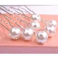 Free Shipping Nice and  Cheap Bridal White pearl with shinning crystal diamond  Hair Pin 7*1.0*1.0cm PVC Box Packing 200pcs/Lot
