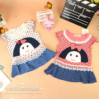 Children's clothing female child 2013 baby summer 100% short-sleeve cotton child t-shirt basic tank dress polka dot shirt