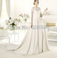 Free Shipping custom-made full sleeve lace satin material round neck v-back a line zipper back elegant bridal wedding dresses