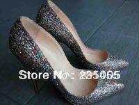 ladies high heels sexy pumps Pigalle Black Glitter Pump womens fashion wedding bridal evening dress sexy shoes 120mm glitter