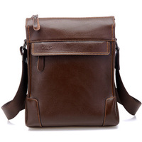 Man bag shoulder bag cowhide male messenger bag casual bag one shoulder bag vertical section