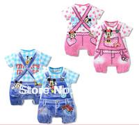 6pcs/Lot (0-18M) children kids baby short Sleeved Romper For Girls Boys 2013 Summer.100%Cotton Cartoon Mickey Jumpsuit,2colors