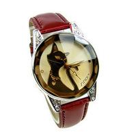 Gift xiaoya fashion watches tinted glass kitten table elegant rhinestone ladies watch