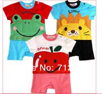 9pcs/Lot (0M-24M)children kids Newrborn baby Jumpsuit for 2013 Summer, Cartoon model rompers/overalls , 3sizes*3colors