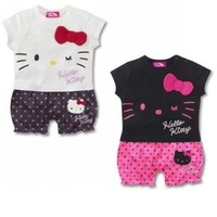 6Pcs/Lot(6-18M)Children Kids baby Girl's Romper/One piece for 2013 Summer, Hello kitty short sleeves rompers,2Colors*3sizes,