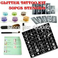 New Temporary Body Art Glitter Tattoos Party Kit 6 Colors Glue 50 Stencils  Glue brush Set Free shipping
