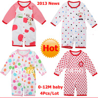 4pcs/lot(0-1Y)Children Kids Baby BOY'S Girl's Jumpsuits For 2013 News.100%Cotton Long Sleeved Rompers, Bodysuit