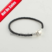 European Style Black Leather DIY Starter Bracelet Jewelry, with 925 Sterling Silver Clasp, Compatible With Pandora Style PL001
