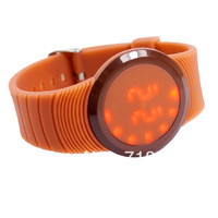 Hot! LED Round Dial Women Men's Silicone Electronic Jelly Candy Wrist Watch 14colors
