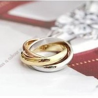 18k rose gold plated real gold jewelry 3 colors circle ring lovers birthday gift High quality,not lose color,antiallergic IFR023