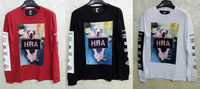 Hot-selling HOOD BY AIR HBA FACE Tee 3D dog pattern tee fashion leisure 100% cotton long-sleeve T-shirts 3 color free shipping
