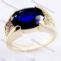 Sz9/10/11/12 Jewellery  classic  sapphire men's 10KT yellow  Gold Filled Ring
