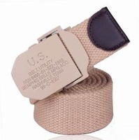 2014 hot US buckle men's military belt thicken canvas belt with metal automatic buckle fashion waistaband free shipping FBB14