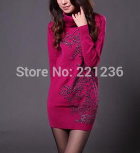 2013 autumn print medium-long sweater female long-sleeve turtleneck all-match basic ...
