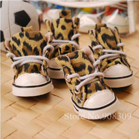 Free Shipping 4pcs/lot Pet Dog Cat Leopard Print Canvas Shoes, Anti-skidding, Dog Sport Shoes Footwear,Soft Sole Walking Sneaker