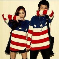 Free Shipping 2013 Autumn/Spring Fashion Casual Long Sleeve Striped American Flag Plus Size Knit Pullover Sweaters For Couples