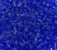 Free shipping!!!2 Cut Glass Seed Beads,Costume jewelry, Tube, translucent, blue, 4x3.5mm, Hole:Approx 1.5mm, 5000PCs/Bag