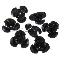 Free shipping!!!Aluminum Jewelry Beads,Trendy, Flower, painting, black, 12x11.50x6mm, Hole:Approx 1.3mm, 950PCs/Bag, Sold By Bag