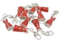 Free shipping!!!Zinc Alloy Lobster Clasp Charm,Women Jewelry, Garment, enamel, red, nickel, lead & cadmium free, 10x38x6mm