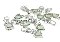 Free shipping!!!Zinc Alloy Lobster Clasp Charm,Supplies For Jewelry, Heart, nickel, lead & cadmium free, 8x25x4mm