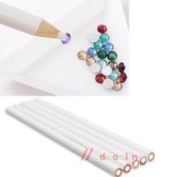 5PCS White Nail Art Rhinestones Gems Picking 3D Design Painter Pencils M3AO