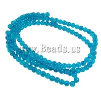 Free shipping!!!Crackle Glass Beads,High Quality Jewelry, Round, blue, 6mm, Hole:Approx 1.5mm, Length:31 Inch, 140PCs/Strand