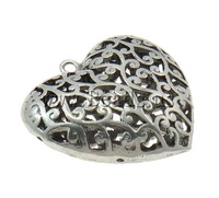 Free shipping!!!Zinc Alloy Heart Pendants,Jewelry Making, antique silver color plated, hollow, nickel, lead & cadmium free