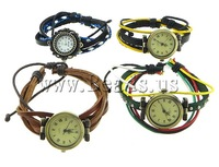 Free shipping!!!Fashion Watch Bracelet,Clearance, Cowhide, antique bronze color plated, mixed, 26mm, 3-9mm