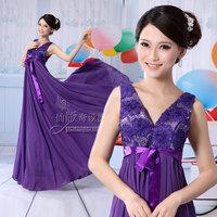 Summer 2013 double-shoulder bridal deep V-neck evening dress long design maternity formal dress chiffon