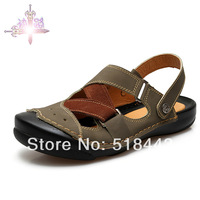 Free shipping discount Handmade sewing male summer casual sandals male beach sandals fashion sandals shoes