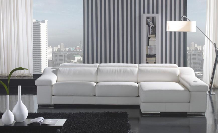 House Design Modern Sofa made with Top Grain Leather L