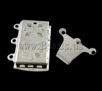 Free shipping!!!Brass Box Clasp,Jewelry Making, Rectangle, silver color plated, 3-strand, nickel, lead & cadmium free