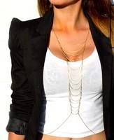 Free Shipping 2013 Hot Selling Women's Multi-Layered Ladder Gold  Body Chain,Women Fashion Jewelry