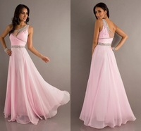 Fancy Style Beautiful Pink Chiffon Crystal Elegant Evening Gowns Prom Dress Patterns 2013
