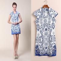 new 2013 autumn -summer Classic female cheongsam chinese style fashion vintage short qipao dress blue and white porcelain print