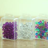 80 Per Box Thumb Tack Plastic Head Push Pins Map Tacks Steel Point Thee Options Purple Clear Multi Colors JNT005