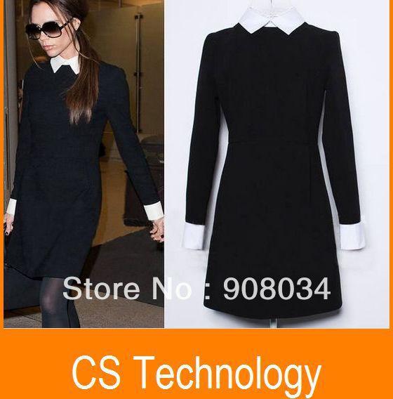 [C-377] 2013 Fashion Star Style Victoria Beckham Dress Slim Elegant Turn-down Collar Long Sleeve Black Dresses for Women(China (Mainland))