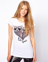 2014 New Fashion Two Love Owl Letters Print White Round Collar Short Sleeve Cotton T-Shirt Tops Tees Shirt Blouse in Stock
