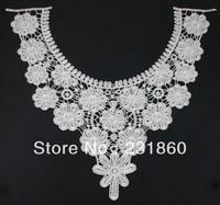 1 X Neckline Collar Off White Fabric Venise Lace Flower Applique Dress Costume